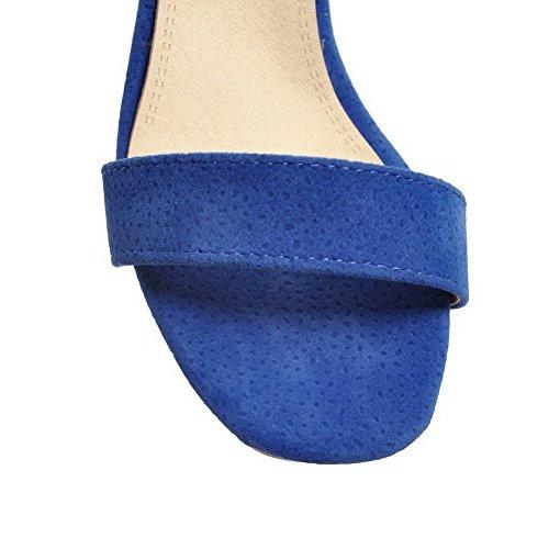 Ouverture à Sandales Couleur Bleu 37 Unie CCAFLO013321 Talon Correct Femme d'orteil VogueZone009 qt5Hx