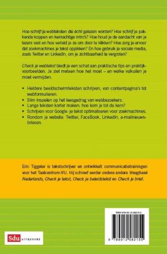 Check je webtekst: tips voor heldere en aantrekkelijke schermteksen: Amazon.es: Eric Tiggeler: Libros en idiomas extranjeros