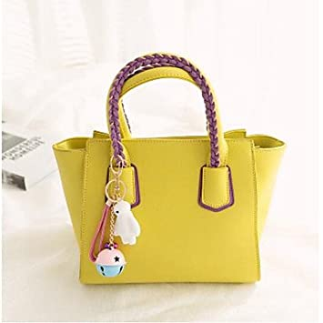 5c8317986502 Women Handbag PU Outdoor Shoulder Bag Black,Yellow: Amazon.co.uk ...