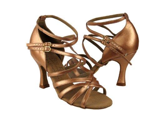 Mesdames Femmes Chaussures De Danse De Salon Pour Latin Salsa Tango Signature S9206 Cuivre Cuir Nude 3 Talon