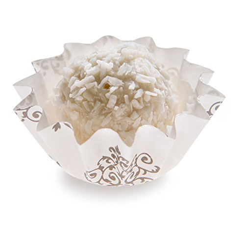 4-oz Baking Cups: Small-Flared Paper Baking Cups Perfect for Muffins, Cupcakes or Mini Snacks – Vintage Floral Design – Disposable and Recyclable – 200-CT (White Mini Muffin)