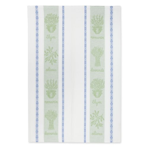 Coucke French Jacquard Cotton Kitchen Dish Towel French Table Collection, Herbes (Herbs) FB, 20-Inches by 30-Inches, Sage -