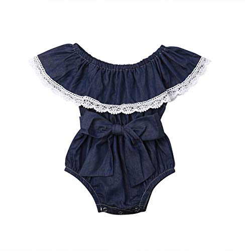 Infant Baby Girl Summer Lace Layered Ruffle Sleeve Romper Dress Bodysuit Clothes (Dark Blue-Denim, 6-12 Months)