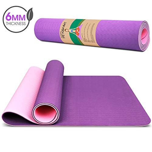 Dralegend Yoga Mat Exercise Fitness Mat – High Density Non-Slip Workout Ma for Yoga, Pilates & Exercises, Anti – Tear, Sweat – Proof, Classic 1/4 Inch