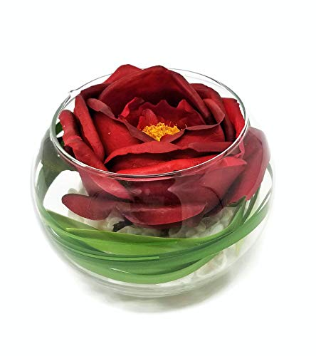 Floral Kingdom Real Touch Latex Single Flower Arrangement in Glass vase for Gift, Centerpiece, or Home/Office Decor (Red Cabbage Rose)