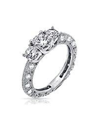 Filigree 3 CT Round Solitaire 3 Stone Past Present Future Promise Cubic Zirconia CZ Engagement Ring 925 Sterling Silver