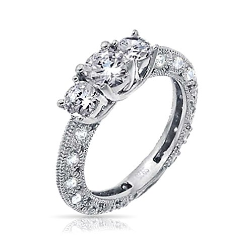Bling Vintage Style Round .925 Silver CZ Engagement Ring ...