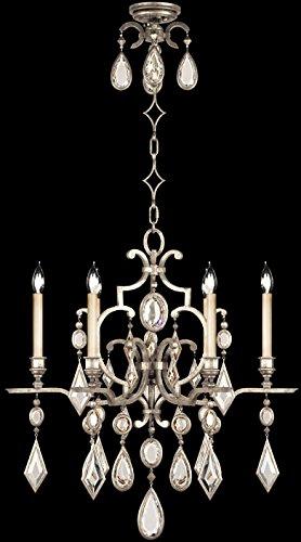 - Fine Art Lamps 729440-3, Encased Gems Crystal Chandelier Light, 120 Watt, Silver Leaf