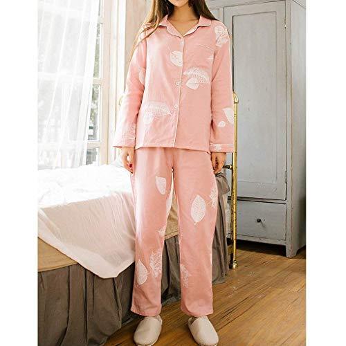 Un Larga Ropa Pantalones Hogar El Mujer Cute Primavera De Conjunto Dormir Fashion Pijama Modernas Pijamas Estampadas Manga Pink Pecho Elegantes Casual Para Otoño V cuello Solo TxPd6qvwP