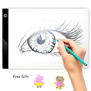 Tracing Light Box for Drawing, A4 Ultra Thin Portable LED Lightbox for Kid and Adult Artist, Stepless Adjustable Brightness Pad, USB Powered Projector Kit for Sketching w/Clips and 10 Tracer Paper
