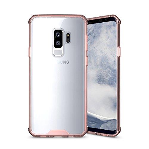 Funda Carcasa Transparente Case para Galaxy S9 Plus TPU Flexibilidad y PC Resistente de Cover para Samsung Galaxy S9 Plus-SDB Pink