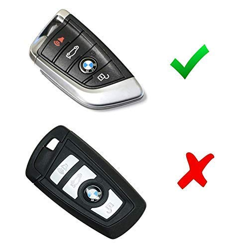 iJDMTOY Carbon Fiber Pattern Soft Silicone Key Fob Cover For BMW 2016-up X1 7 Series, 2014-up X5, 2015-up X6, 2017-up 5 Series & 2019-up X7 Keyless Fob (Black Twill Weave)
