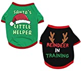 Alroman Dogs Christmas Shirts Snowflakes Clothes Pet Santa Claus Suit Puppy Red Clothing Doggie Winter Apparel Cold Weather Coats Cat Xmas Costumes New (L (8.8~11lbs), Pack of 2 (No. 4))