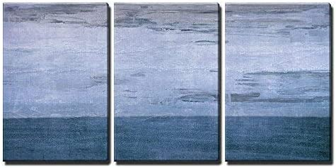 Blue Color Abstract Artwork x3 Panels