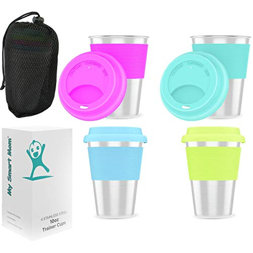 Stainless Steel Kids Cups 10oz with Silicone Lid and Sleeve - Stainless Steel Sippy Cups Premium Metal Glasses for Toddlers with Portable Carry Pouch 4-Pack