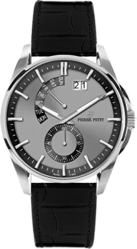 Pierre Petit Men's P-793A Le Mans Stainless Steel Luminous Black Genuine Anti Allergic Leather Big Date Watch