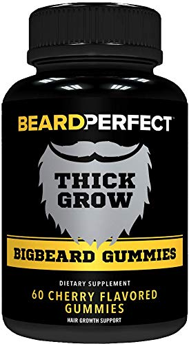 THICKGROW BIGBEARD Gummies - Get a Stronger, Longer, Thicker Beard - Beard Growth Formula for Men - with Biotin, B12, and 10+ Elite Beard-Building Vitamins and Nutrients - 60 Cherry Flavored Gummies!