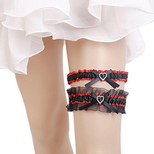 Xoemir 2017 Rhinestone Black Stretchy Satin Leg Garters With Bowknot For Wedding