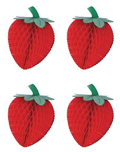 4 Piece Strawberry (Beistle S55303-8AZ4, 4 Piece Tissue Strawberries, 8