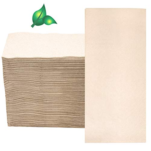 Compostable Biodegradable Unbleached Eco Napkins, 150 Kraft Recycled 15 x 16 Inch Disposable Dinner Napkin