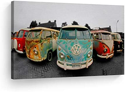 Decorative Canvas Print Vintage Volkswagen Van Bus Art Modern Wall D cor Artwork Wrapped Wood Stretcher Bar