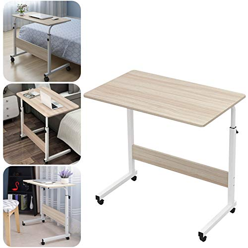 panthem Movable Laptop Desk with Wheels, Standing Height Adjustable Computer Desk Laptop Table, Portable Side Table for Bed Sofa Balcony Garden, 60L X 40W X 71-90H CM White Maple