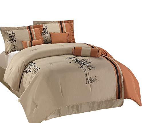 Chezmoi Collection Kariya 7-Piece Embroidery Bamboo Comforter Set, Queen, Rust/Light Taupe