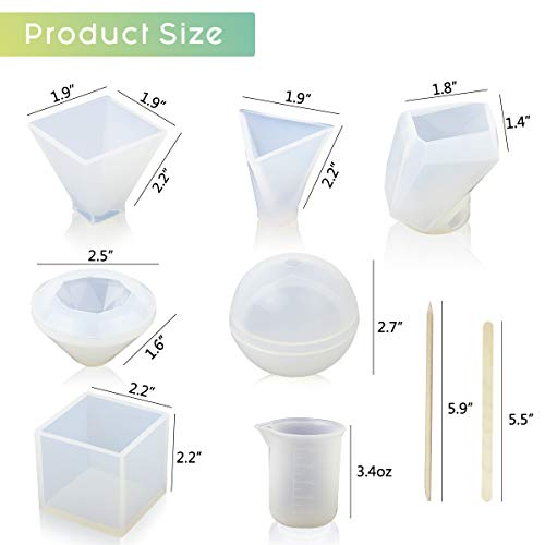 LET'S RESIN 6 Pack Resin Molds, Various Shape Epoxy Resin Molds Including Cube, Pyramid, Sphere, Diamond, Stone Resin Mold, Resin Silicone Molds with Silicone Measuring Cups & Wood Sticks