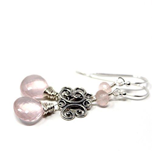 Silver Artisan Filigree Earrings - Rose Quartz Earrings Sterling Silver Pink Gems Filigree Scrolls, 2 Inches