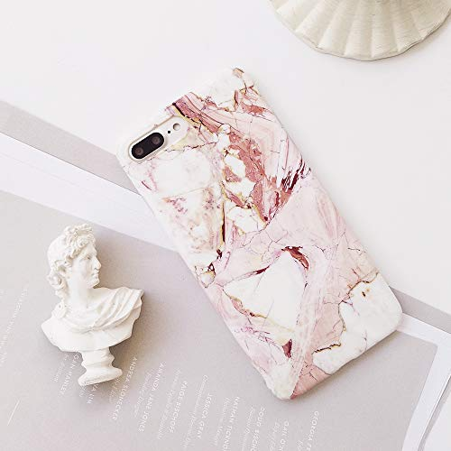 iPhone 8 Plus Case, iPhone 7 Plus Case, Crimson Coral Marble Pattern Design, Slim Fit Clear Bumper Soft TPU Full-Body Protective Cover Case for iPhone 7/8 Plus 5.5'' (Maroon Marble) ()