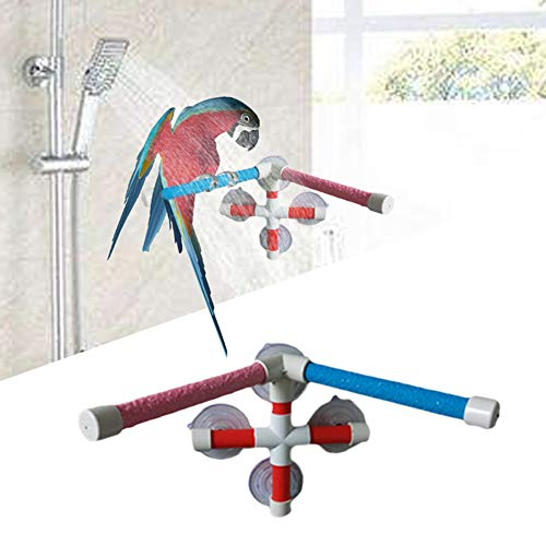 (Keersi Double Suction Cup Shower Perch Window Wall Stand for Bird Parrot Parakeet Cockatiel Conure Macaw African Greys Amazon Cockatoo Lovebirds Budgie Finch Canary Bath Toy Accessories)