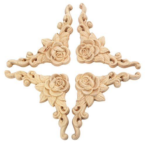 4pcs 8x8cm Wood Carved Corner Onlay Applique Door Cabinet Rose Unpainted European Style (Wood Carved Dark)