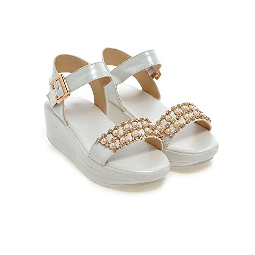 Amoonyfashion Mujer-open-toe Kitten-heels Soft Material Solid Hebilla Sandalias Blanco