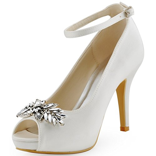 ElegantPark HP1544I Women Pumps Peep Toe Leaves Clips Rhinestones Platform Stiletto Wedding Bridal Shoes Ivory US 7