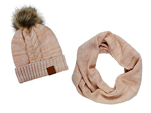 Crush Knit Hat and Scarf Set with Fur PomPom- Biege