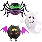 Portable/Special Halloween Paper Lanterns With LED Lights Door Hanging Accessories For Party Halloween Decoration