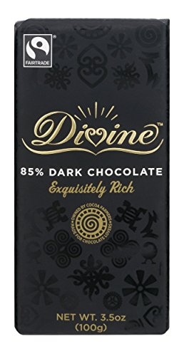 Divine Chocolate Bar, 85% Dark Chocolate, 3.5 Ounce (Pack of 10)