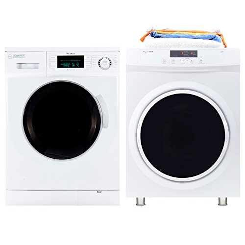 Equator Washer Dryer Combo - Equator Set of EW 824 N -1.6 Cu. Ft. High Efficiency Compact Washer and ED 860 - Standard Dryer with Sensor Dry Option, in White