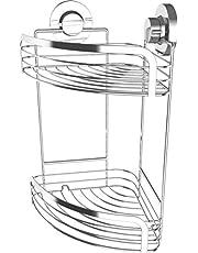 Cornat hoekmand 3 in 1 - voor hoekmontage - 3 verschillende bevestigingsopties met zuignap, kleefpad & boren - verchroomd/doucheplank/doucheplank