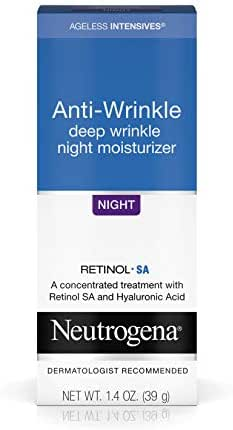 Neutrogena Ageless Intensives Anti Wrinkle Cream with Retinol and Hyaluronic Acid - Night Cream with Shea Butter, Vitamin E, Vitamin A, Glycerin, Hyaluronic Acid, 1.4 oz