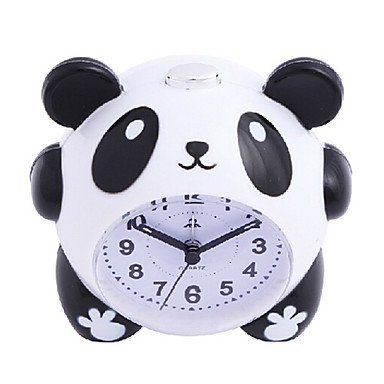 zhENfu Cute Cartoon Panda Alarm Clock Night Light Silent for Kids Students Children Gift Wall Clock ()