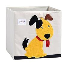 DODYMPS Foldable Animal Canvas Storage Toy Box/Bin/Cube/Chest/Basket/Organizer for Kids, 13 inch (Dog)