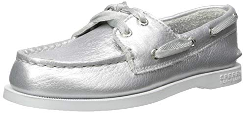 Big Kids Silver Apparel - SPERRY Girls' Authentic Original Boat Shoe, Silver, 010 Medium US Little Kid