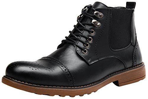 Image of SHENBO Rough Men's Brogue Chelsea Boots (12, Black2)