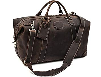783e067a4c Image Unavailable. Image not available for. Color  ROCKCOW Vintage Look Men s  Leather Weekender Duffel Bag Luggage Holdall