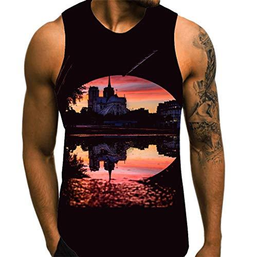 (Eoeth Men's Wild Tank Tops Notre Dame de Paris 3D Printed Blouse Top Sleeveless Slim Fit Round Neck T-Shirt Tee Black)