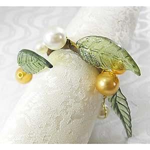 Multicolor ZBHMB servilleteros anillo Perla frutas Navidad, acrílico, 4,5 cm, 12 jadella, amarillo