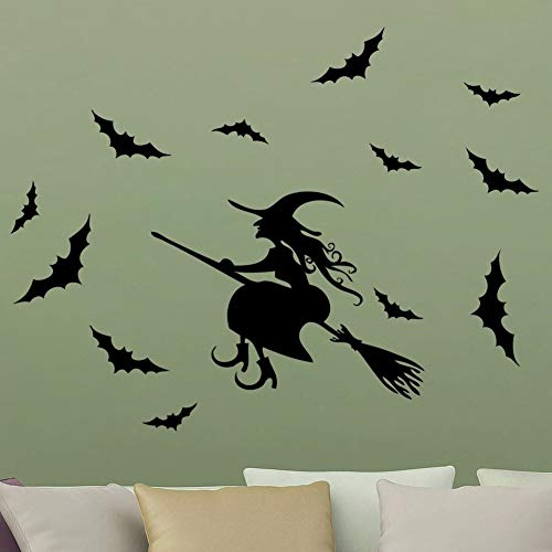(mauned Wall Decal Sticker Art Mural Home Decor Witch Sticker Decal Halloween Festival Decor Black Party)