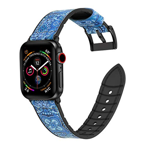 ⌚ Leather + TPU Wristband Band Strap Bracelet for Apple Watch Series Watch Band 4 44mm ♔Sunbona Deployment Buckle Watch Strap Sliver Watch Clasp Buckle for Men and Women With 4/3/2/1 (Blue)