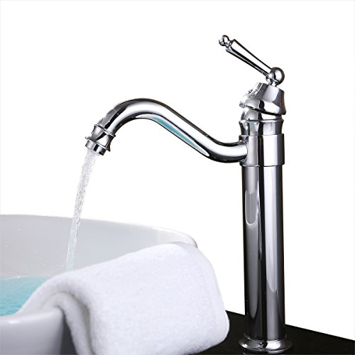 Contemporary Vessel Faucet (UNILLAP 360° Single Handle Waterfall Bathroom Vanity Sink Faucet with Extra Large Rectangular Spout, Chrome)